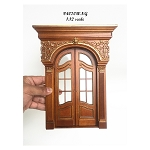 Decorated French double door handcrafted for 1:12 dollhouse miniature Walnut-gold Amazing